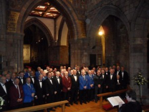 The Three Choirs Concert at Crediton Parish Church. Saturday 11 April 2015. Exeter MVC, Ilfracombe MVC, Torridge MVC.  Musical Director : Margaret Aagesen Hughes The Concert was in memory of Ellen Sanders, raised over £1000 for Crediton Community Transport Charity Bus.